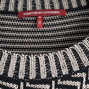 Comptoir Des Cotonniers Sweaters - Graphic black and tan knit top